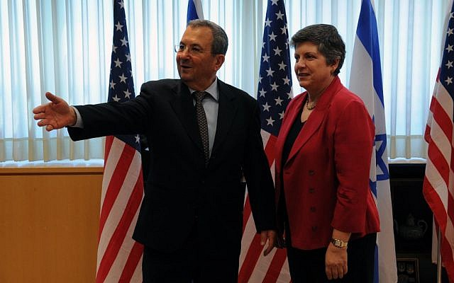 Defense Minister Ehud Barak meets with US Secretary of Homeland Security Janet Napolitano on Monday. (photo credit: Defense Ministry/Flash90)