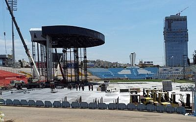 The stage for Madonna's concert being built at Ramat Gan stadium last week (photo credit: Flash90)