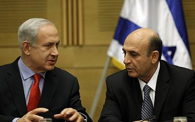 Prime Minister Benjamin Netanyahu, left, and Kadima head Shaul Mofaz at a Plesner committee meeting in May. (photo credit: Uri Lenz/Flash90)