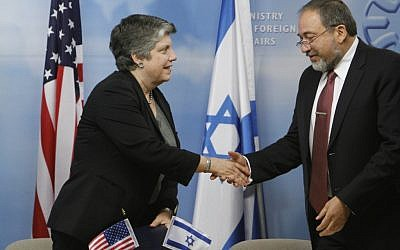 Foreign Minister Avigdor Lieberman and US Secretary of Homeland Security Janet Napolitano, at the Foreign Ministry in Jerusalem on Sunday (photo credit: Miriam Alster/Flash90)