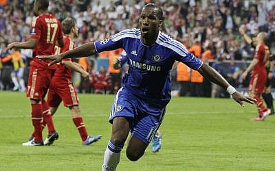 Chelsea's Didier Drogba celebrates after scoring during the Champions League final between Bayern Munich and Chelsea in Munich, Germany, on Saturday. (photo credit: AP/Frank Augstein)