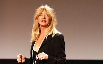 Goldie Hawn at a TED talk in 2008. (photo credit: Erik Charlton, CC, via Flickr)