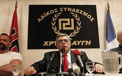 Golden Dawn leader Nikos Michaloliakos (AP/Petros Giannakouris)