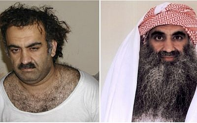 On the left, a March 1, 2003 photo obtained by AP shows Khalid Sheikh Mohammed, the alleged Sept. 11 mastermind, shortly after his capture during a raid in Pakistan. On the right, a photo downloaded from the Arabic language Internet site www.muslm.net purports to also show Khalid Sheik Mohammed in detention at Guantanamo Bay, Cuba. The picture was allegedly taken in July 2009 by the International Committee of the Red Cross and released only to the detainee's family (photo credit: AP/www.muslm.net)