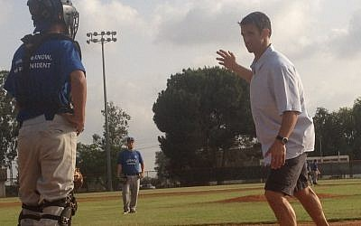 Former All-star catcher Brad Ausmus training junior members of the Israeli national team Wednsesday. Ausmus is in Israel as part of his new post as coach of the Israeli team for the World Baseball Classic tournament. (photo credit: Michal Shmulovich)