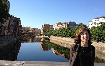 The writer on a bridge leading to Girona's Old City. (photo credit: courtesy)