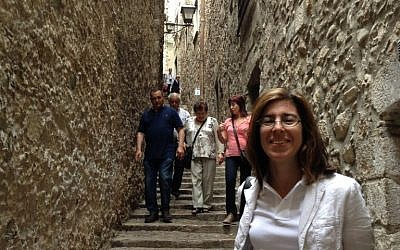 The writer in one of the narrow alleys of the Call, used by her ancestors 520 years ago. (photo credit: courtesy)