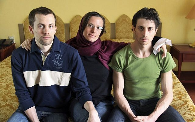 Former Iranian hostages Shane Bauer, left, Sarah Shourd, center, and Josh Fattal (photo credit: AP/Press TV)