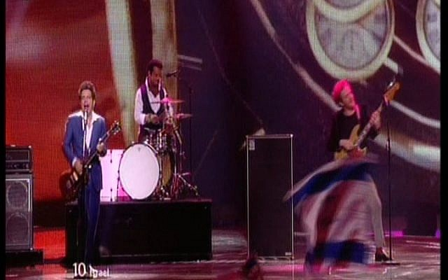 Izabo performing at the Eurovision contest in Baku (photo credit: screen capture/IBA)