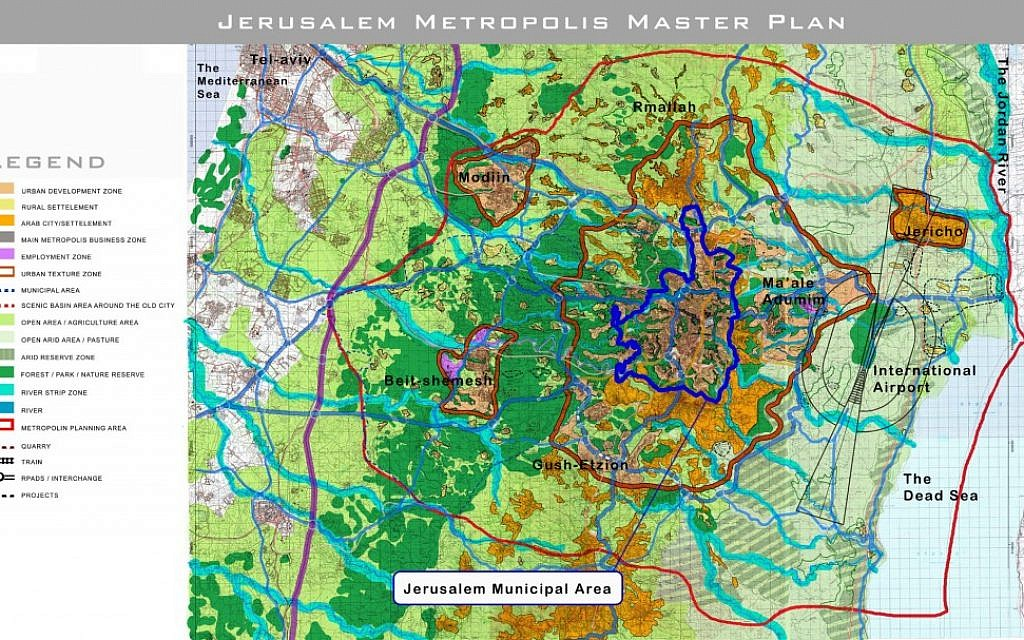 A detailed map of the Jerusalem 5800 Master Plan (photo credit: Courtesy Kevin Bermeister)
