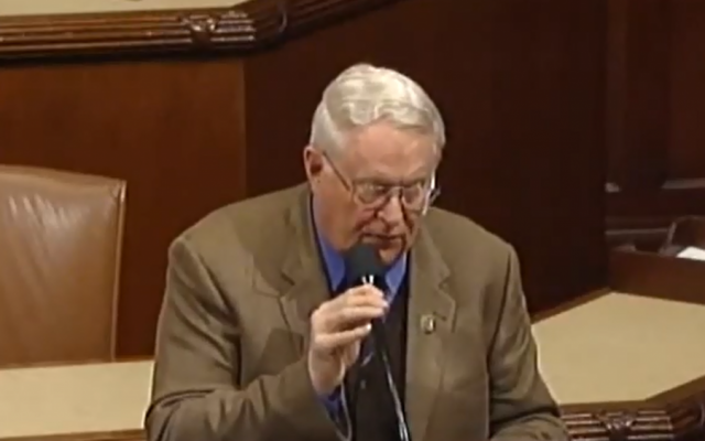 Republican Congressman Joe Pitts (R-PA) speaking in the House of Representatives in March (photo credit: screen capture, YouTube)