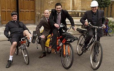Organizer Michael Leventhal (left) with Rabbi Natan Levy and members of the Church of England support the  Rabbi Relay launch. (photo credit: Courtesy)