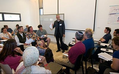 Prof. William Kolbrener leads a session at a 2012 Limmud conference in Jerusalem (photo credit: Yehoshua Halevi)