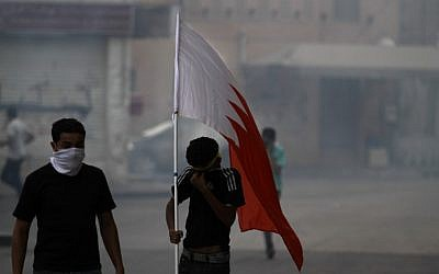 Bahraini anti-government protesters during clashes in Bahrain in 2012 (photo credit: AP/Hasan Jamali)