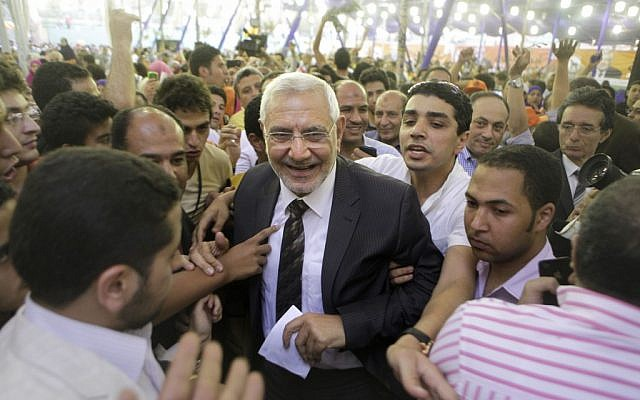 Egyptian presidential candidate Abd Al-Munim Abu-Fattouh in Cairo (photo credit: AP/Amr Nabil)