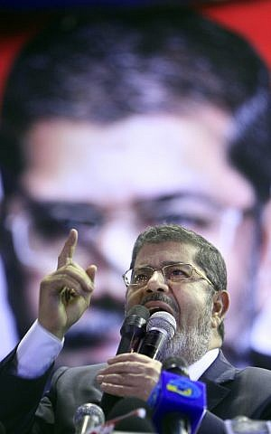 Muslim Brotherhood candidate Muhammad Mursi (photo credit: AP Photo/Amr Nabil)