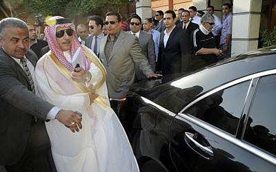 Saudi ambassador to Egypt, Ahmed Kattan upon return to Cairo on May 5, 2012. (photo credit: AP Photo/Ahmed Hammad)