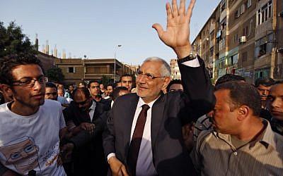 Egyptian presidential candidate Abdel-Moneim Abolfotoh (photo credit: AP/Khalil Hamra)