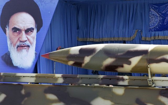 A missile displayed during a military parade outside Tehran.  (photo credit: AP/Vahid Salemi)