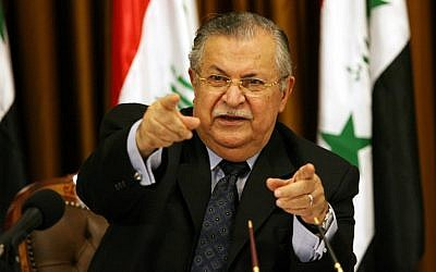 Iraqi President Jalal Talabani (photo credit: AP Photo/ Hadi Mizban)