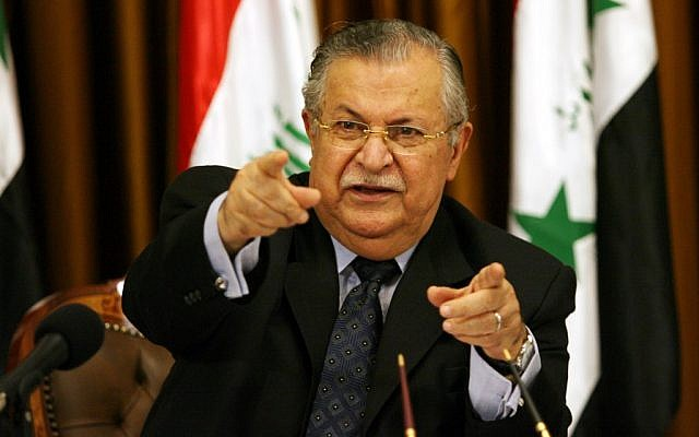 Iraqi President Jalal Talabani (photo credit: AP Photo/ Hadi Mizban)