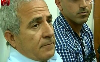Kiryat Malachi Mayor Motti Malka in court on Wednesday. (screen capture: Channel 2)