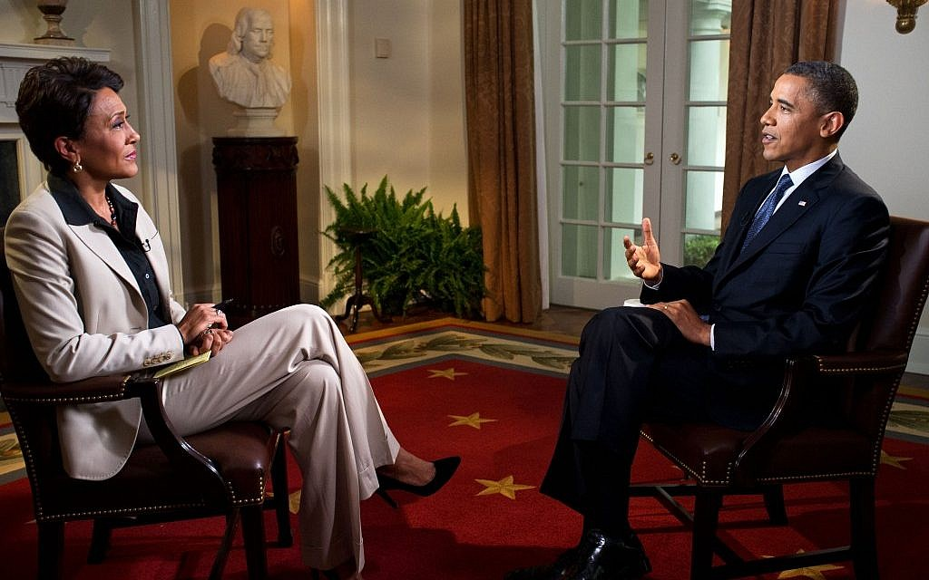 """President Barack Obama participates in an interview with Robin Roberts of ABC's """"Good Morning America,"""" in the Cabinet Room of the White House, May 9, 2012. (photo credit: Official White House Photo by Pete Souza)"""