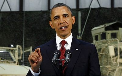 US President Barack Obama delivers a speech from Bagram Air Field, Afghanistan, in May (photo credit: AP/Kevin Lamarque)
