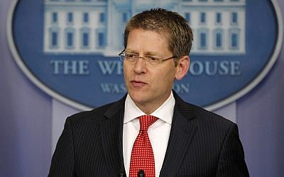 White House Press Secretary Jay Carney addresses the media (photo credit: Pablo Martinez Monsivais/AP)