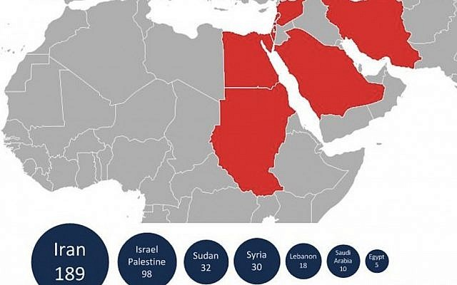 Map of Flame's target countries (Photo credit: courtesy Kaspersky)