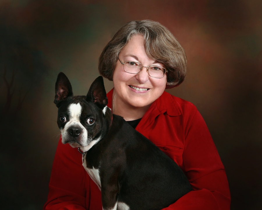 Rabbi Sally Priesand with her Boston Terrier, Shadow. (Photo credit: Courtesy Joel Gerard/Jointmedia News)