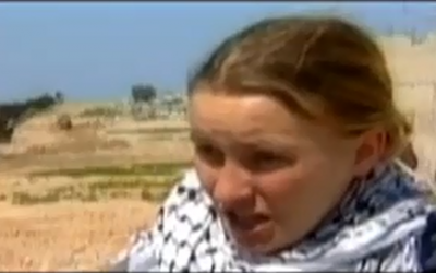 American activist Rachel Corrie speaking in Gaza before her death in March 2003. (photo credit: screen capture, YouTube)