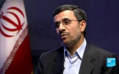 Image capture of Iranian President Mahmoud Ahmadinejad from a France 24 interview.