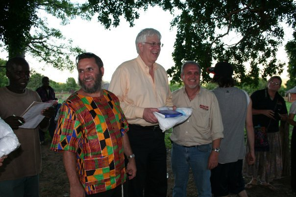 PragerU founder Dennis Prager, center, with Rabbi Shmuley Boteach on a ROCK of Africa Mission outreach in Zimbabwe, November 2009. (Photo credit: Courtesy shmuley.com)