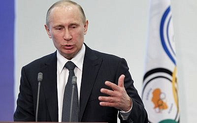 Russian President Vladimir Putin speaking in Moscow in April (photo credit: AP/Misha Japaridze, File)