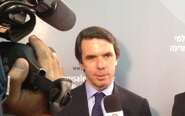 Former Spanish prime minister Jose Maria Aznar Wednesday in Jerusalem (photo credit: Raphael Ahren/The Times of Israel)