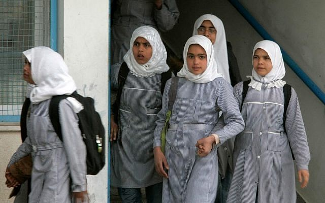 Illustrative: Palestinian girls at a UNRWA school in Gaza. (Abed Rahim Khatib/Flash90)
