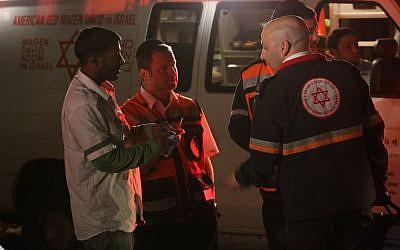 Magen David Adom paramedics (illustrative photo credit: Nati Shohat/Flash90)