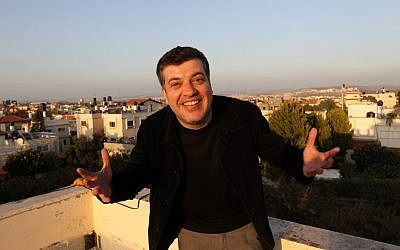 Sayed Kashua on the roof of his home in Tira (photo credit: Nati Shohat/Flash 90)