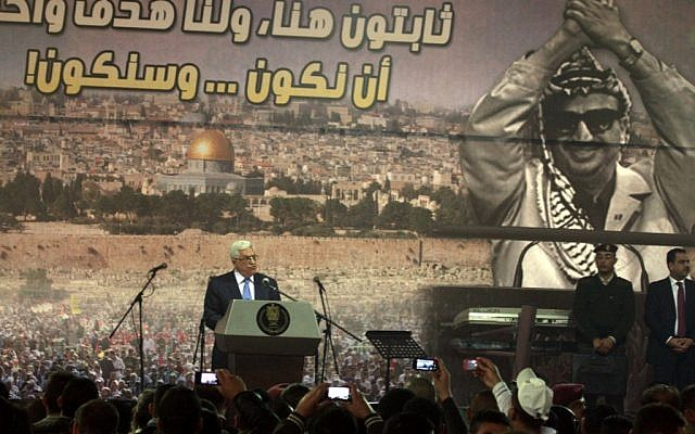Mahmoud Abbas speaking in Ramallah in 2011. (photo credit: Issam Rimawi/Flash90)