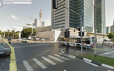 A Google Street View outside IDF headquarters in Tel Aviv. (screen capture)