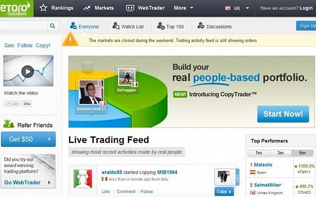 Screenshot of the eToro OpenBook platform (Photo credit: Courtesy)