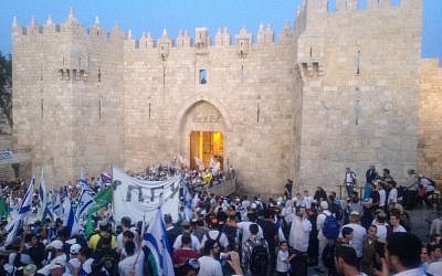 Dancing through Damascus Gate on Sunday (Photo credit: Mitch Ginsburg)