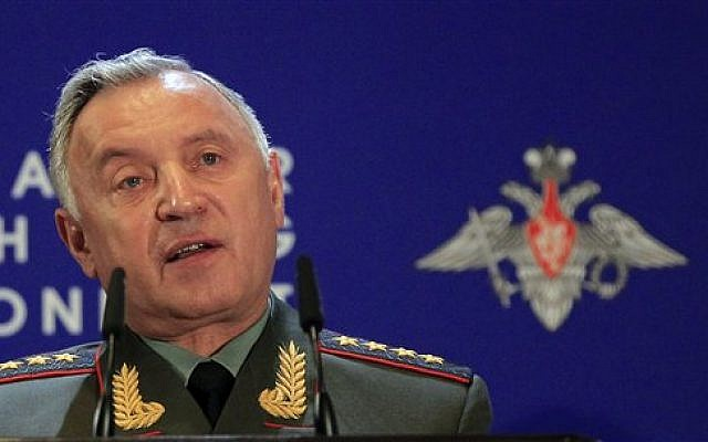 Chief of General Staff Nikolay Makarov speaks at Russian Ministry of Defense's Conference on Missile Defense in Moscow on Thursday, May 3, 2012. (AP Photo/Sergey Ponomarev)
