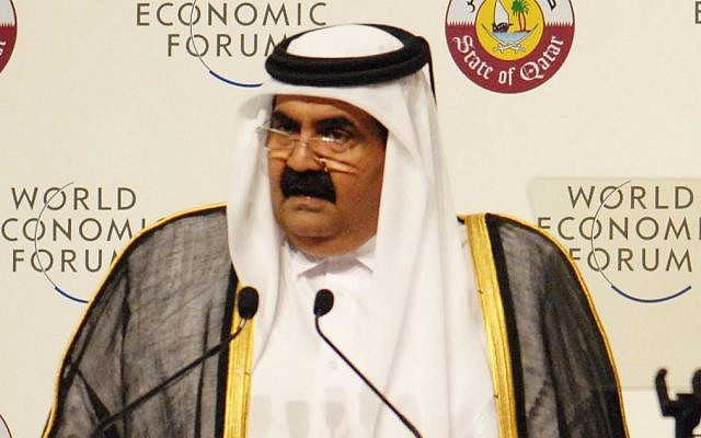 Sheik Hamad bin Khalifa al-Thani at the World Economic Forum in 2011 (photo credit: CC BY SA World Economic Forum, Flickr)