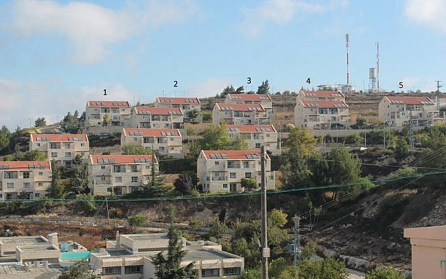 Givat Ulpana neighborhood with the houses slated for demolition marked 1-5 (photo credit: courtesy)