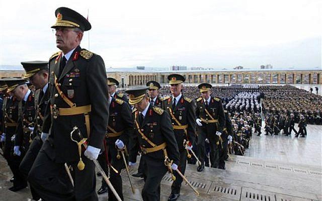 Turkish army generals walk to the mausoleum of Mustafa Kemal Ataturk, the founder of modern Turkey, in Ankara, Turkey, in 2010 (photo credit: AP/Burhan Ozbilici)