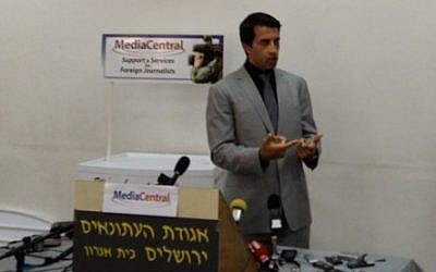 Yousef during a press conference in Jerusalem, June 19 (photo credit: Elhanan Miller/Times of Israel)
