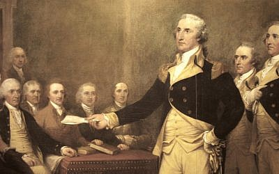 Oil painting of George Washington by John Trumbull. In May 2012, a letter written by Washington in 1790 and addressed to the Hebrew Congregation in Newport, RI was released from the B'nai B'rith archives (CC BY, by Joye, Flickr)