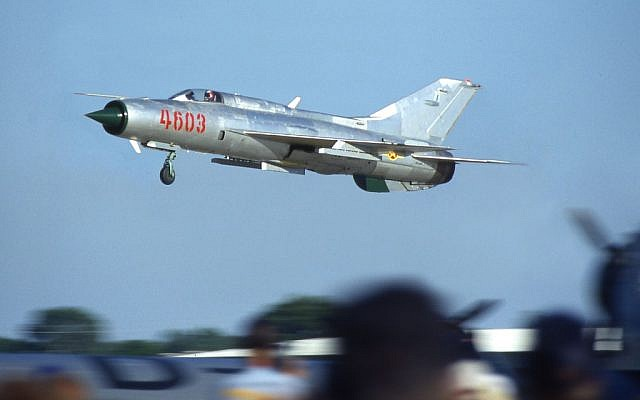 A MiG-21 fighter plane. (photo credit/CC-BY Armchair Aviator, Flickr)